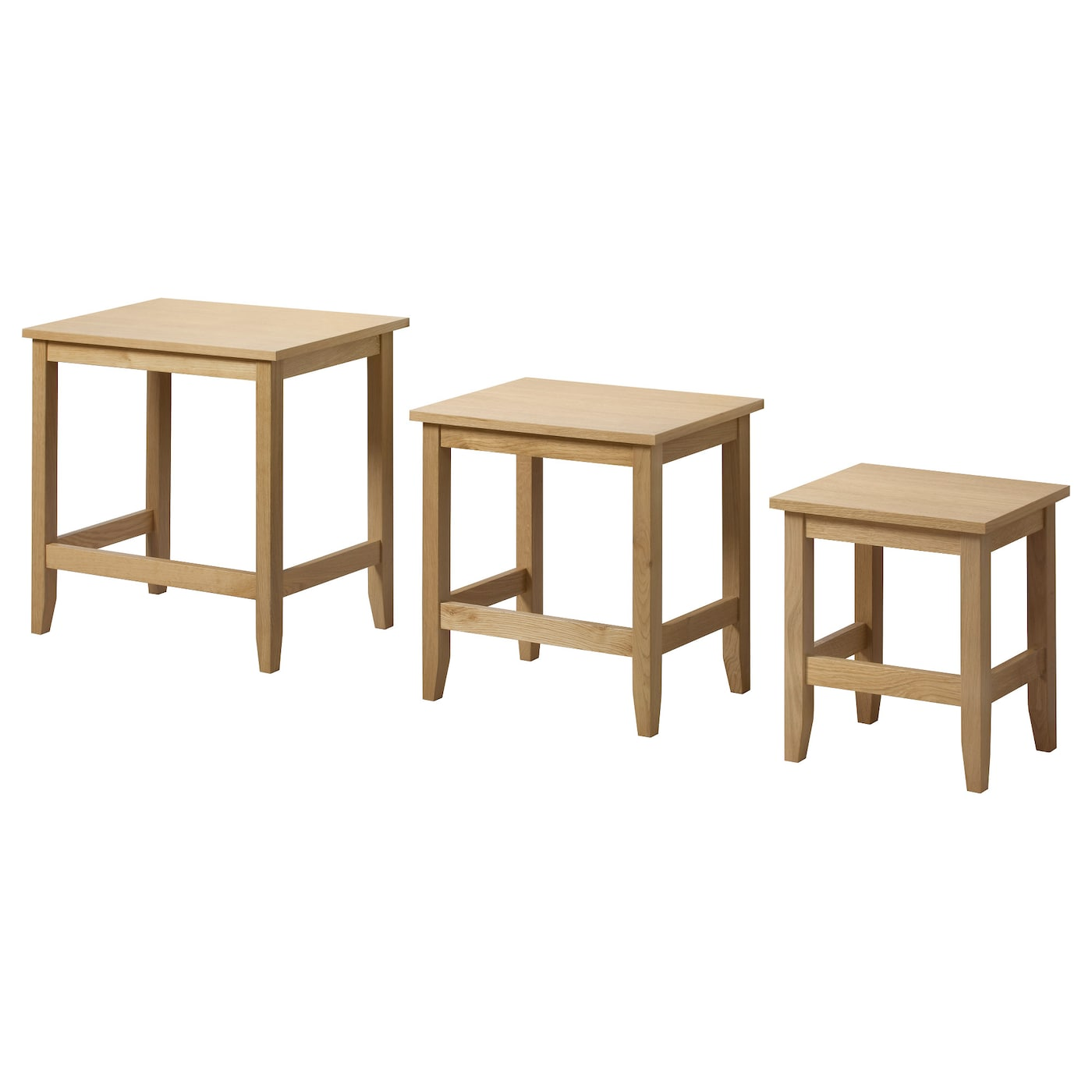 Skoghall nest of tables set of 3 oak ikea Ikea coffee tables and end tables