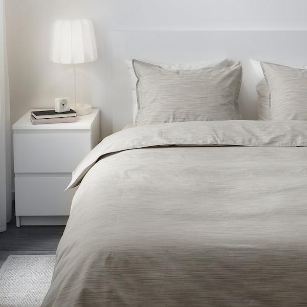 SKOGSALM Quilt cover and 2 pillowcases, beige, 200x200/50x80 cm
