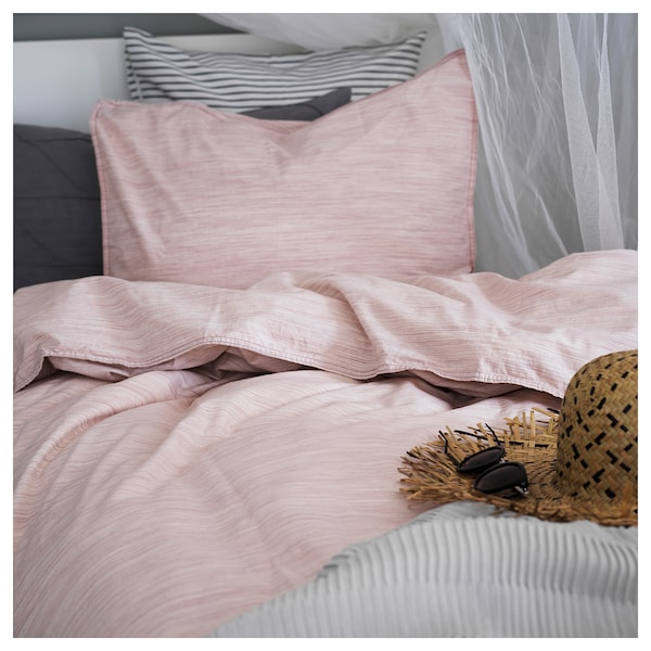 SKOGSALM Quilt cover and 2 pillowcases, pink, 200x200/50x80 cm