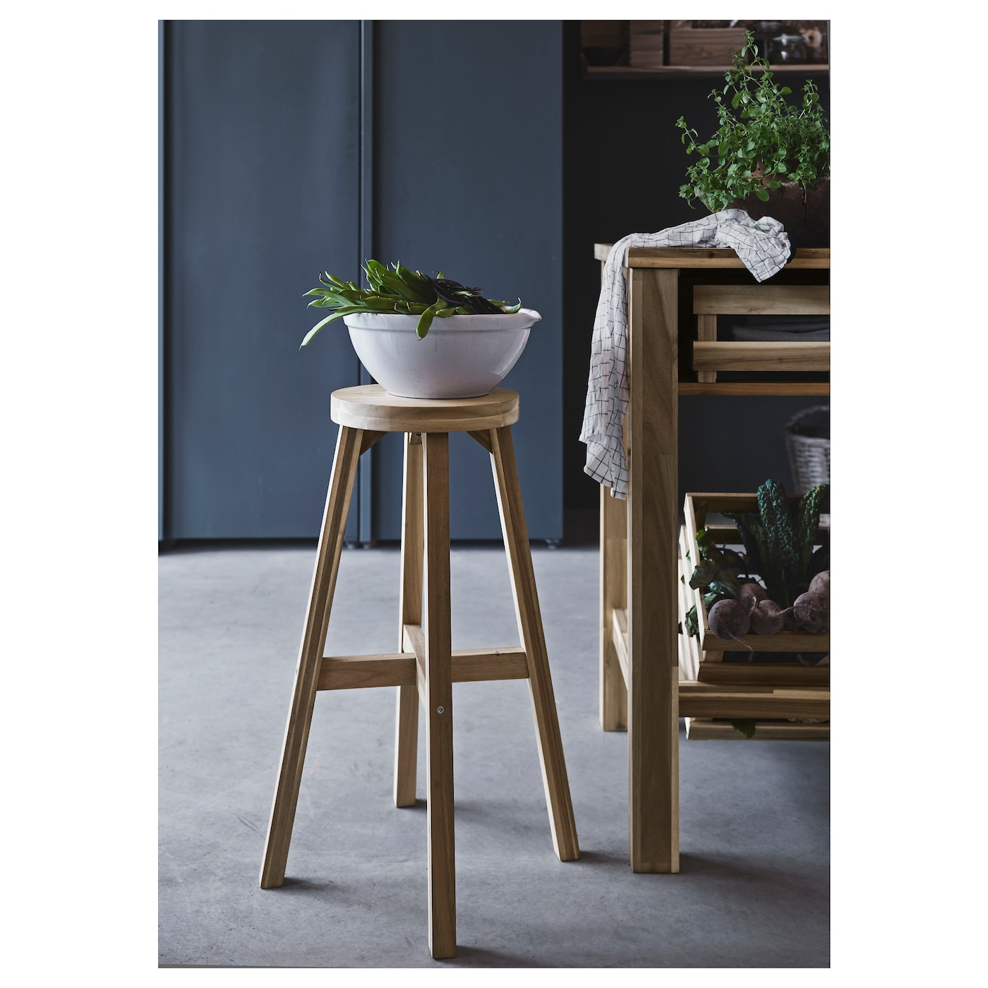 Skogsta bar stool acacia 48x70 cm ikea for Bar stools ikea