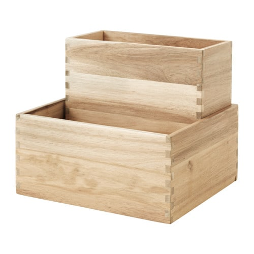 IKEA SKOGSTA box set of 2 Solid wood is a hardwearing natural material.