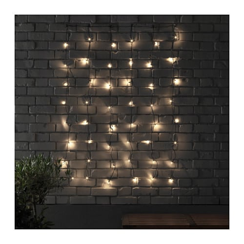 SKRUV LED lighting curtain with 48 lights Outdoor/black - IKEA