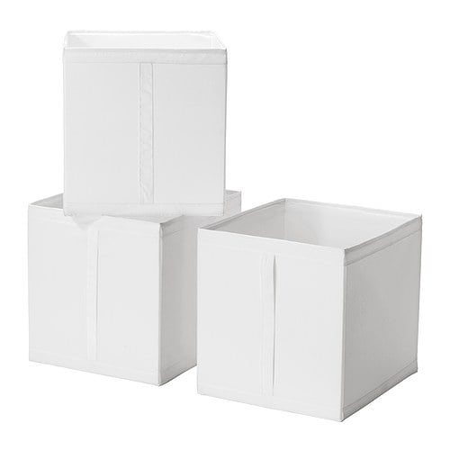 SKUBB Box IKEA Handle on one side makes the box easy to pull out.  All three boxes fit side by side in a 100 cm wide wardrobe frame.