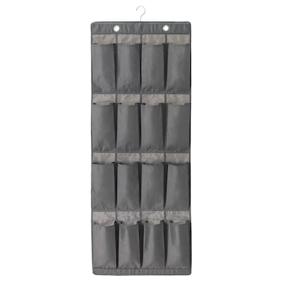 SKUBB hanging shoe organiser w 16 pockets dark grey