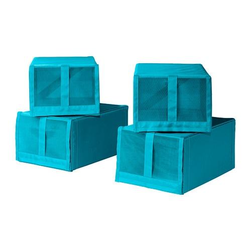 Ikea skubb shoe box wardrobe clothes storage x 4 turquoise for 100 cm window box