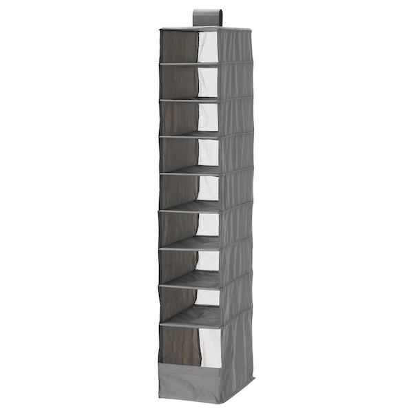 SKUBB storage with 9 compartments dark grey 22 cm 34 cm 120 cm