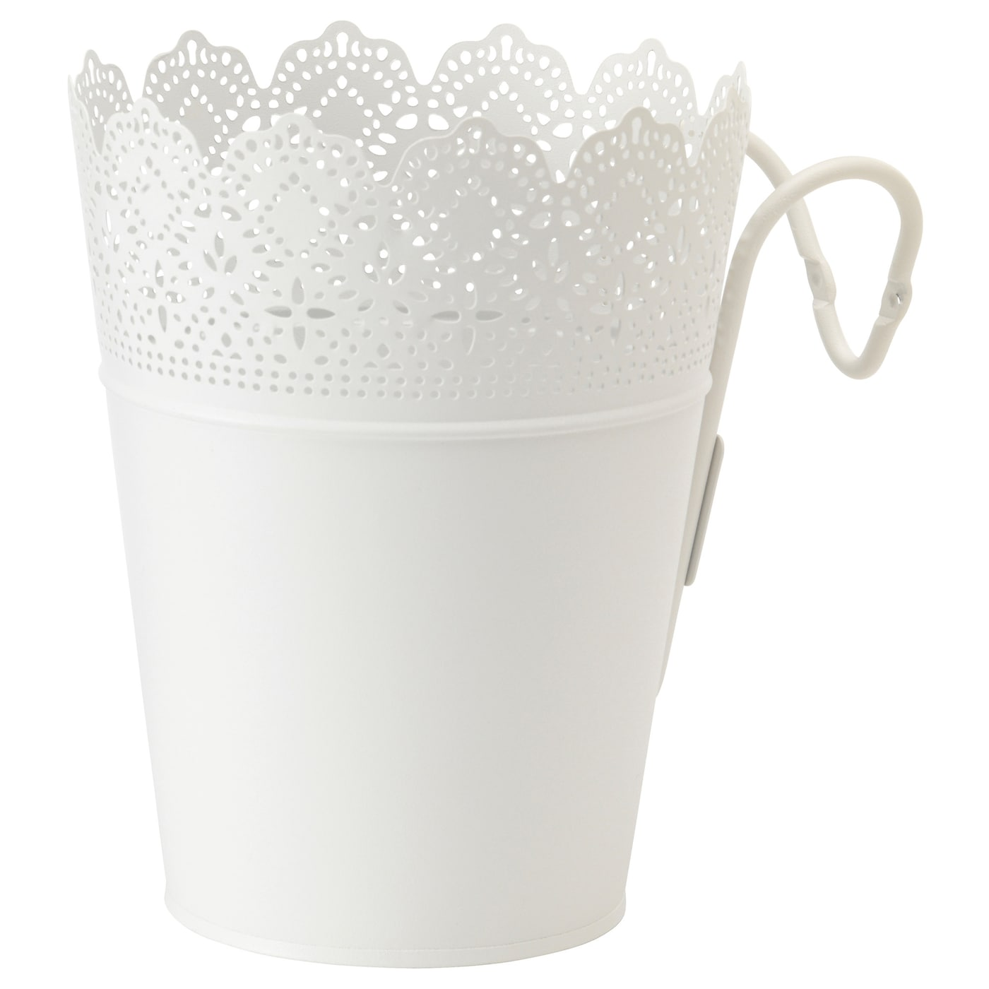 skurar plant pot with holder in outdoor white 15 cm ikea. Black Bedroom Furniture Sets. Home Design Ideas