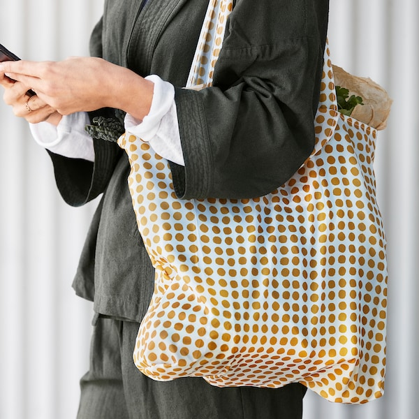 SKYNKE Carrier bag, yellow/white