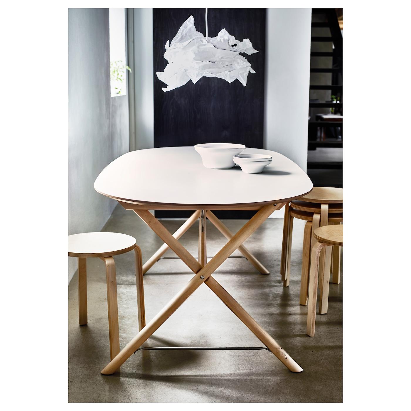 Hemnes Coffee Table White Stain 90 X 90 Cm: SLÄHULT Table White/dalshult Birch 185 X 90 Cm