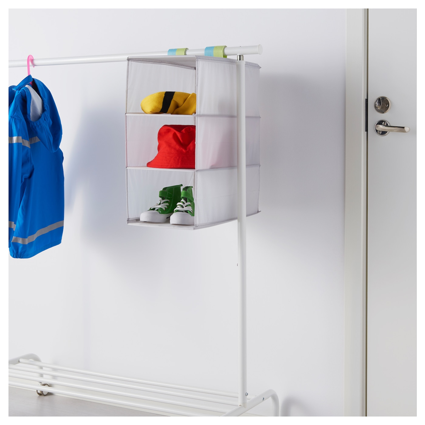 IKEA SLÄKTING storage with 3 compartments Can be folded to save space when not in use.