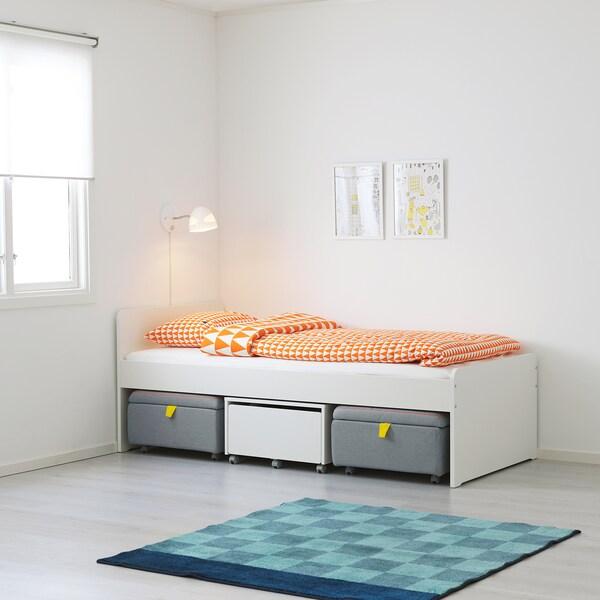 SLÄKT Bed frame w storage + seat modules, white/grey, 90x200 cm
