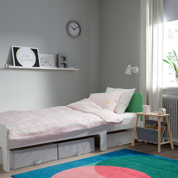 SLÄKT Ext bed frame with slatted bed base - white, green ...