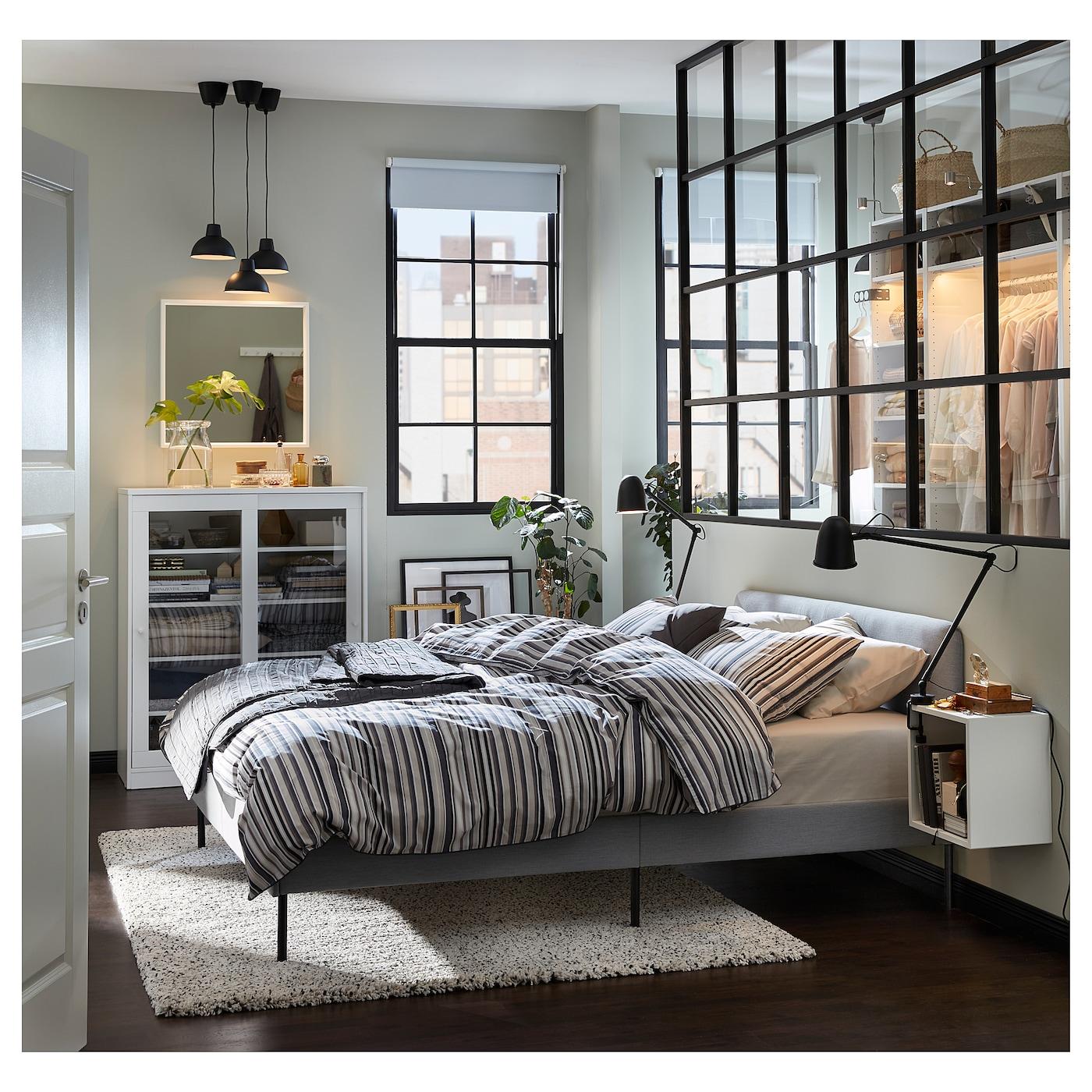 Slattum Knisa Light Grey Upholstered Bed Frame Standard King Ikea