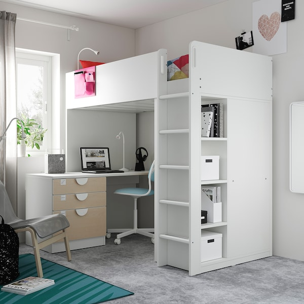 SMÅSTAD Loft bed, white birch/with desk with 4 drawers, 90x200 cm