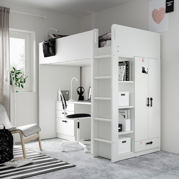 Småstad Loft Bed White White With Desk With 4 Drawers Ikea