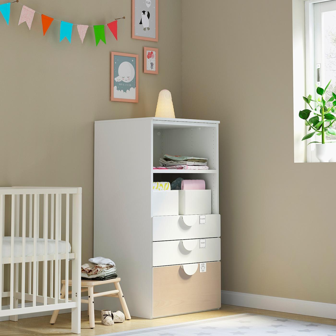 SMÅSTAD / PLATSA Bookcase, white birch/with 3 drawers, 60x57x123 cm