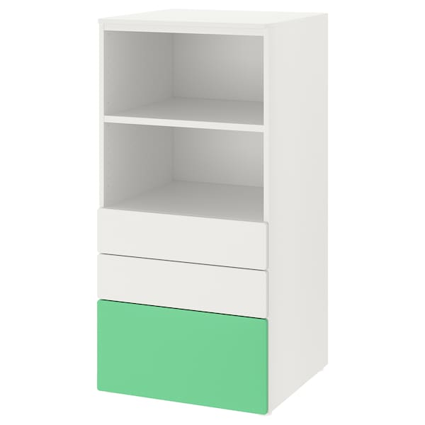 SMÅSTAD / PLATSA Bookcase, white green/with 3 drawers, 60x57x123 cm