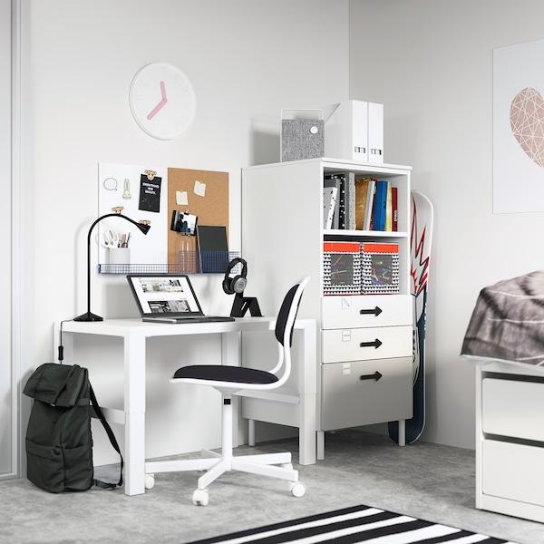 SMÅSTAD / PLATSA Bookcase, white grey/with 3 drawers, 60x57x123 cm