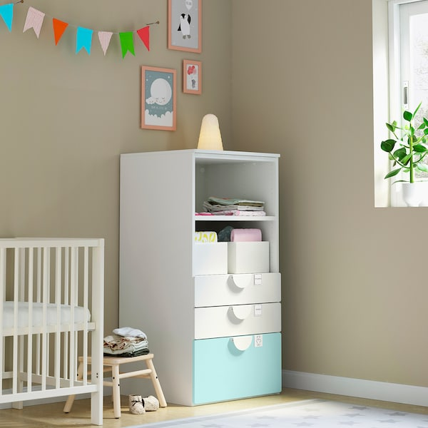 SMÅSTAD / PLATSA Bookcase, white pale turquoise/with 3 drawers, 60x57x123 cm