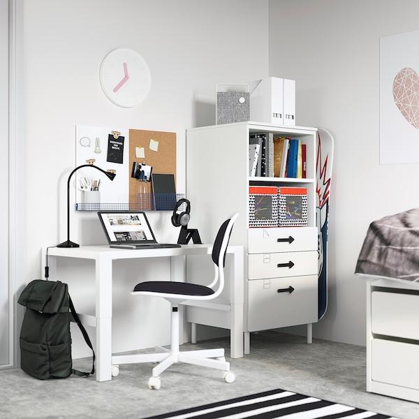 SMÅSTAD / PLATSA Bookcase, white white/with 3 drawers, 60x57x123 cm