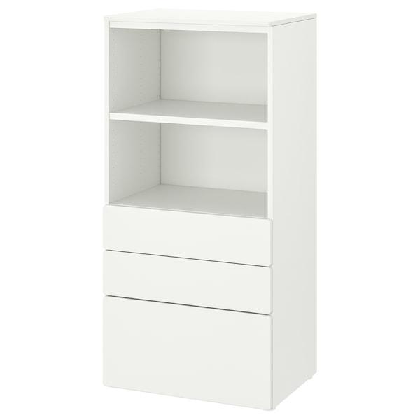 SMÅSTAD / PLATSA Bookcase, white white/with 3 drawers, 60x42x123 cm