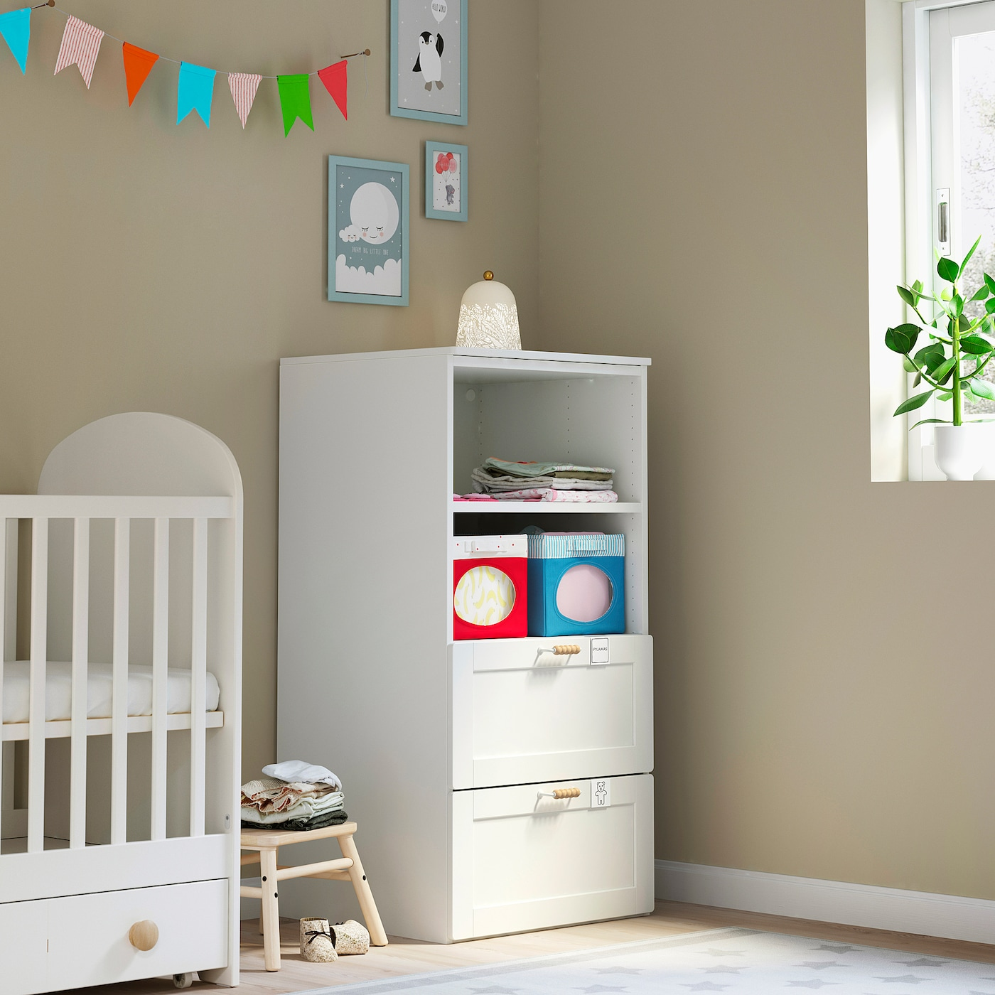 SMÅSTAD / PLATSA Bookcase, white with frame/with 2 drawers, 60x57x123 cm