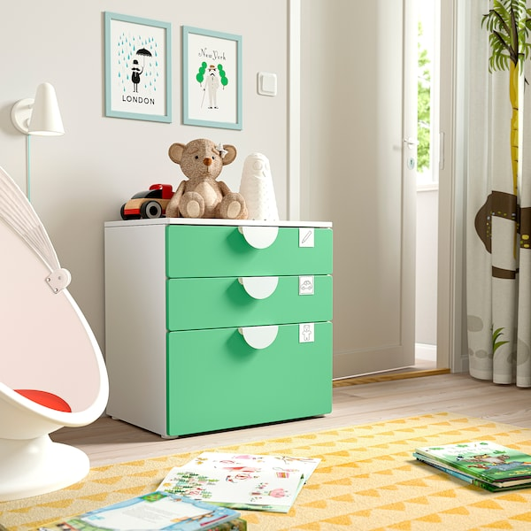 SMÅSTAD / PLATSA Chest of 3 drawers, white/green, 60x42x63 cm