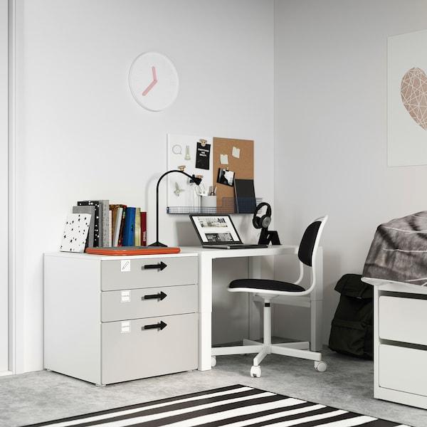SMÅSTAD / PLATSA Chest of 3 drawers, white/grey, 60x57x63 cm