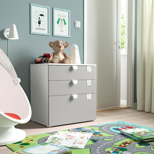 SMÅSTAD / PLATSA Chest of 3 drawers, white/grey, 60x42x63 cm