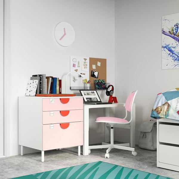 SMÅSTAD / PLATSA Chest of 3 drawers, white/pale pink, 60x57x63 cm