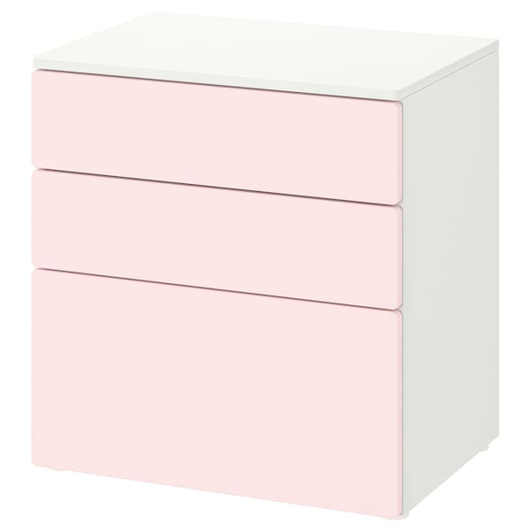 SMÅSTAD / PLATSA Chest of 3 drawers, white/pale pink, 60x42x63 cm