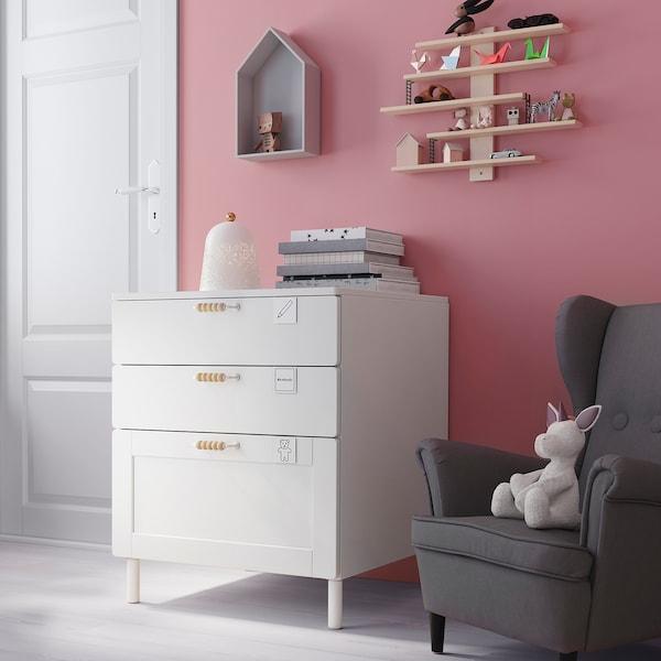 SMÅSTAD / PLATSA Chest of 3 drawers, white white/with frame, 60x57x63 cm