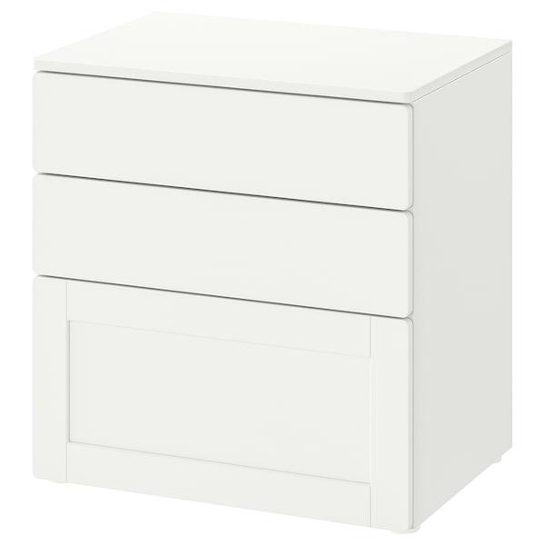 SMÅSTAD / PLATSA Chest of 3 drawers, white white/with frame, 60x42x63 cm