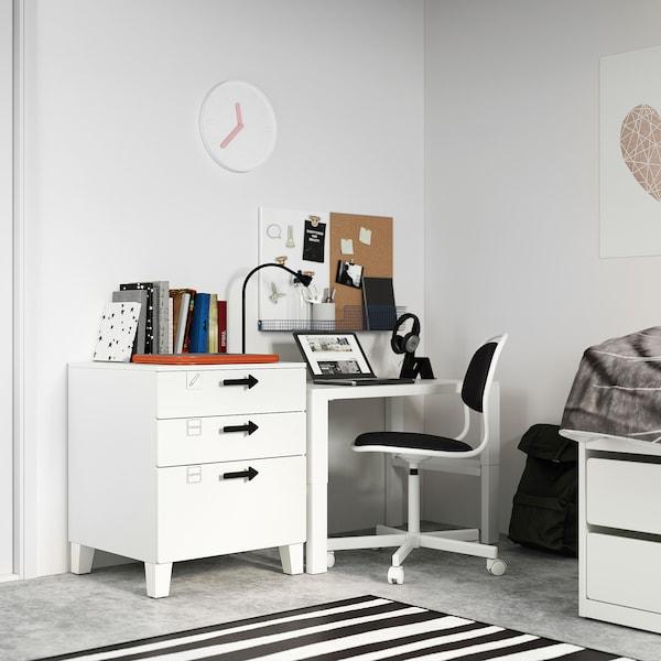 SMÅSTAD / PLATSA Chest of 3 drawers, white/white, 60x57x63 cm