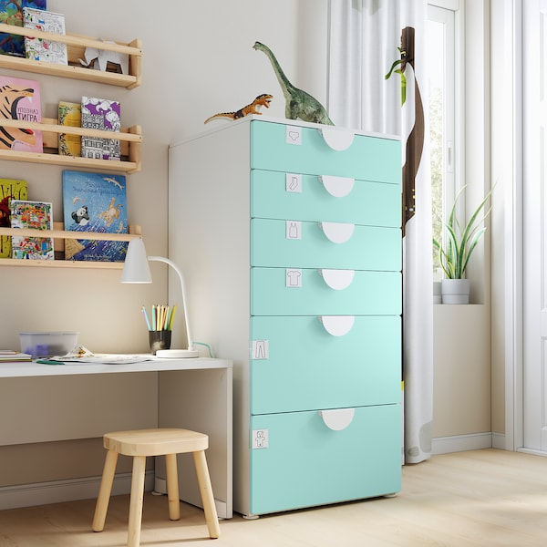 SMÅSTAD / PLATSA Chest of 6 drawers, white/pale turquoise, 60x55x123 cm