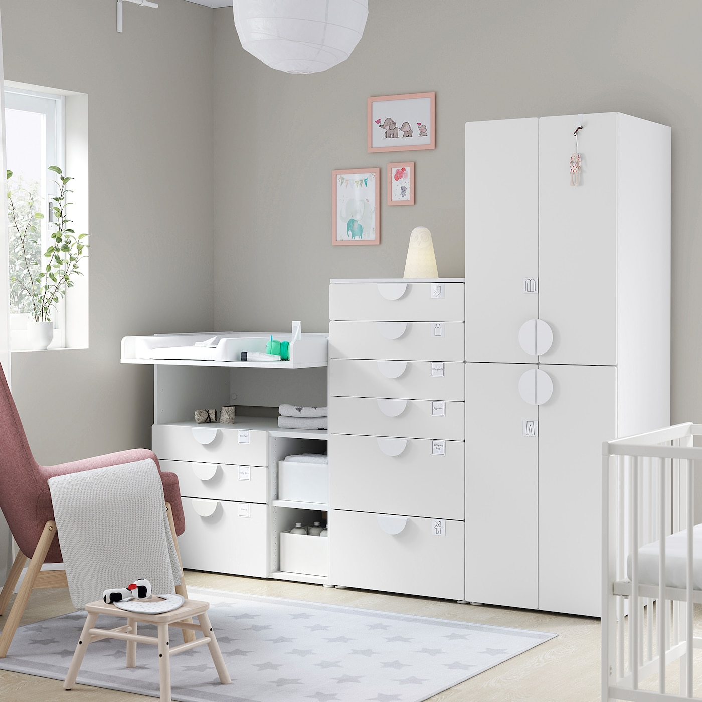SMÅSTAD / PLATSA Storage combination, white white/with changing table, 210x79x180 cm