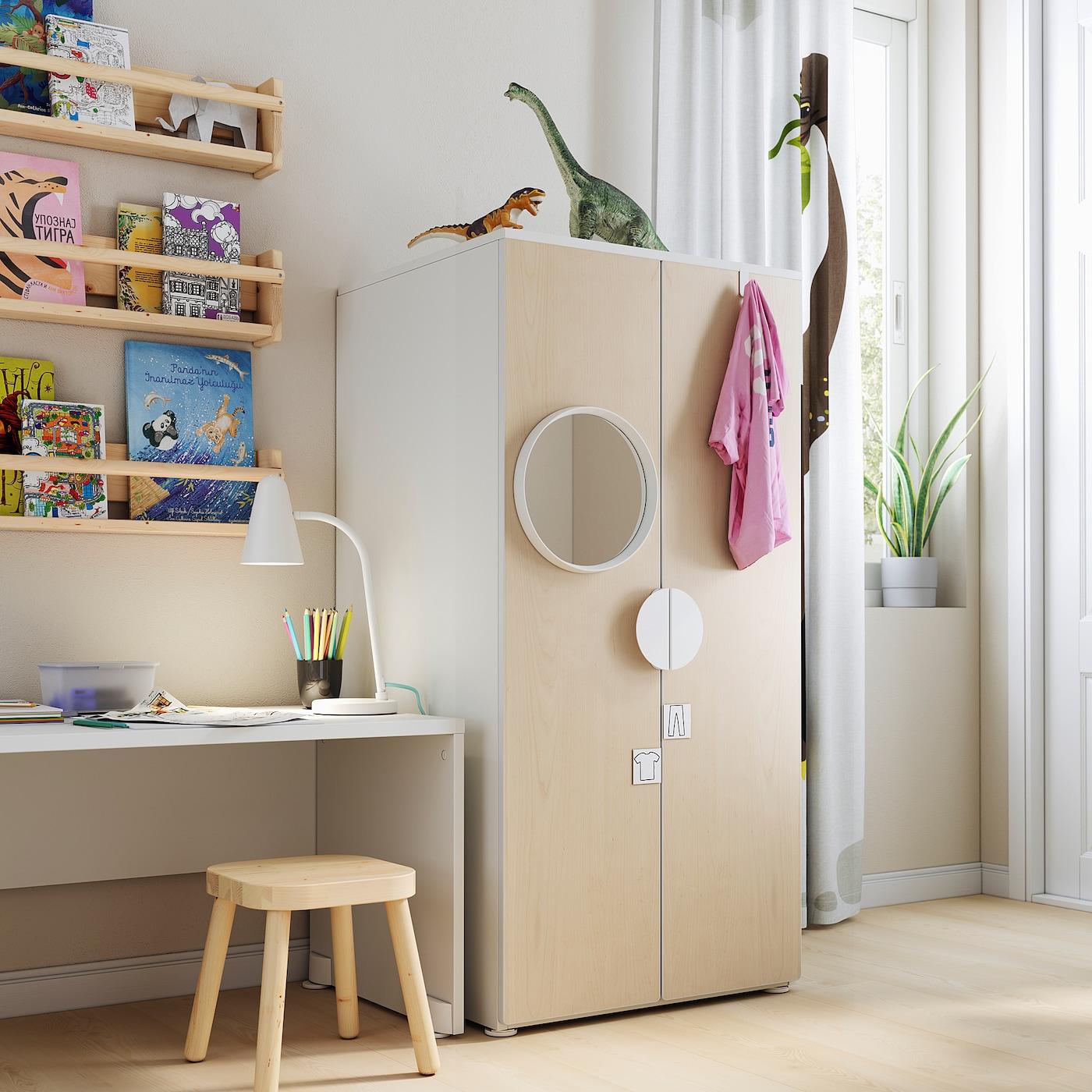 SMÅSTAD / PLATSA Wardrobe, white/birch, 60x57x123 cm