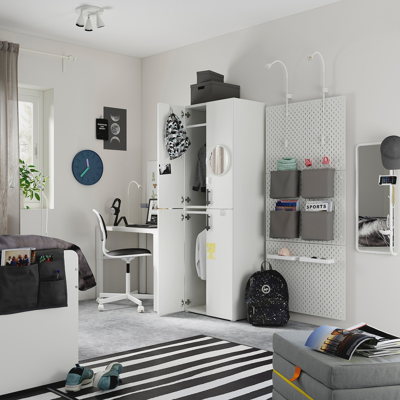 SMÅSTAD / PLATSA Wardrobe - white grey/with 2 clothes rails 60x40x180 cm
