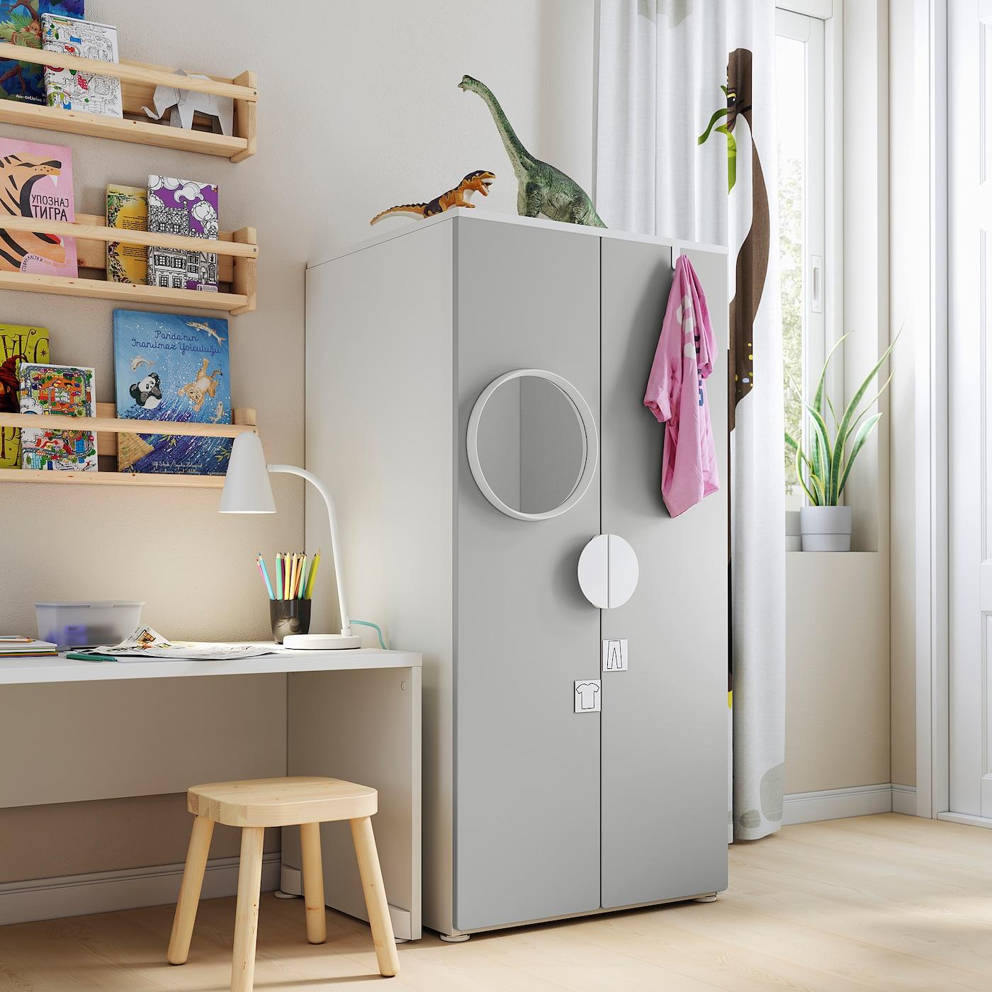 SMÅSTAD / PLATSA Wardrobe, white/grey, 60x57x123 cm