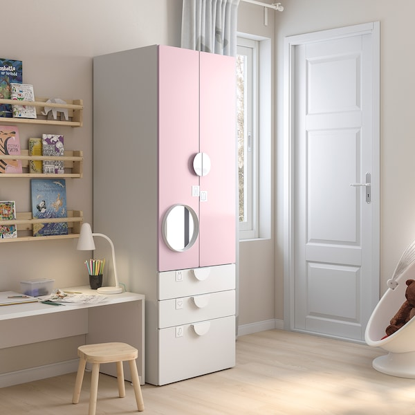 SMÅSTAD Wardrobe, white pale pink/with 3 drawers, 60x57x181 cm