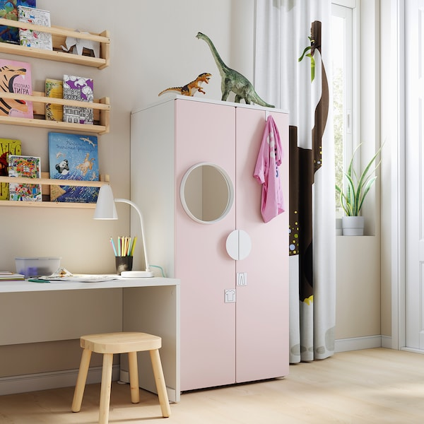 SMÅSTAD Wardrobe, white/pale pink, 60x42x123 cm