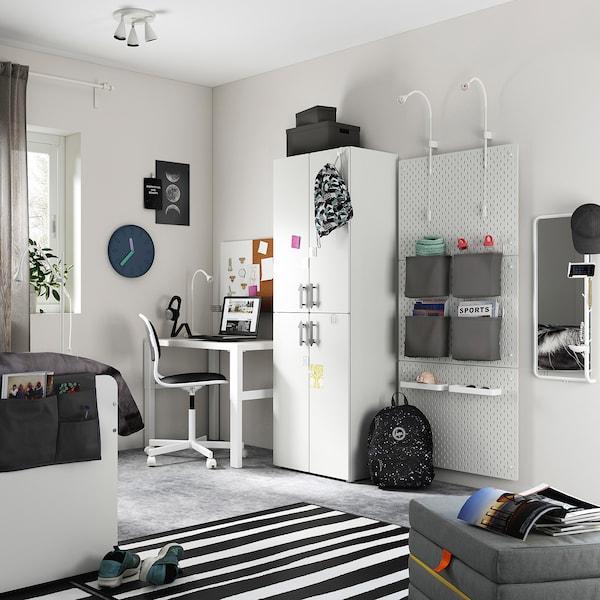SMÅSTAD Wardrobe, white white/with 2 clothes rails, 60x42x181 cm
