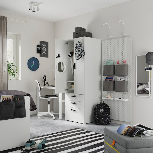 SMÅSTAD Wardrobe, white white/with 3 drawers, 60x57x181 cm