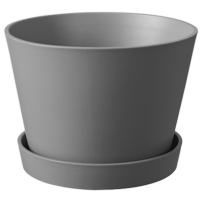 SMULGUBBE Plant pot and saucer, concrete effect/outdoor, 15 cm