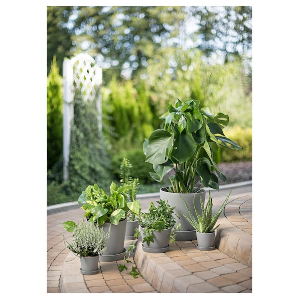 SMULGUBBE plant pot and saucer concrete effect/outdoor 9 cm 20 cm 21 cm 21 cm