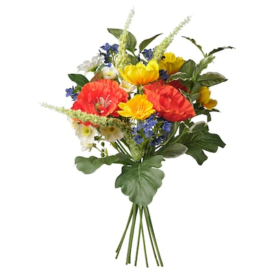 SMYCKA Artificial bouquet, in/outdoor blue/red/yellow/white, 36 cm