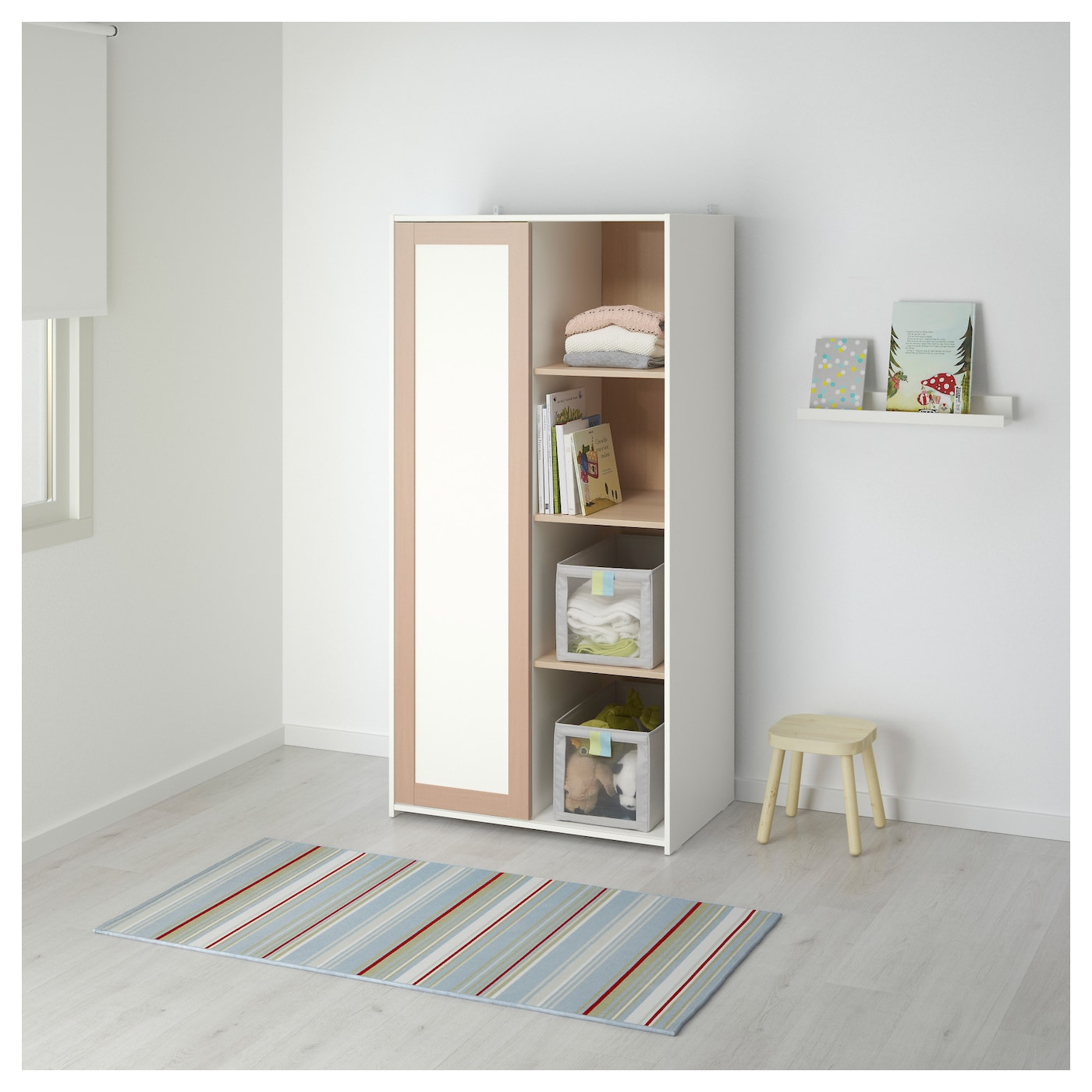 Ikea Orlando Young Child And Smaller Space Showroom: SNIGLAR Wardrobe Beech/white 81 X 50 X 163 Cm