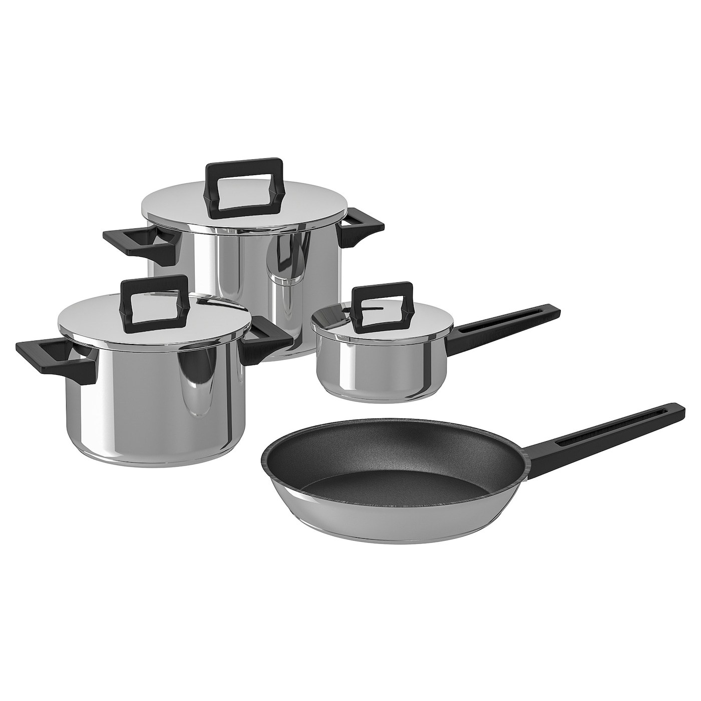 IKEA SNITSIG 7-piece cookware set Works well on all types of hobs, including induction hob.