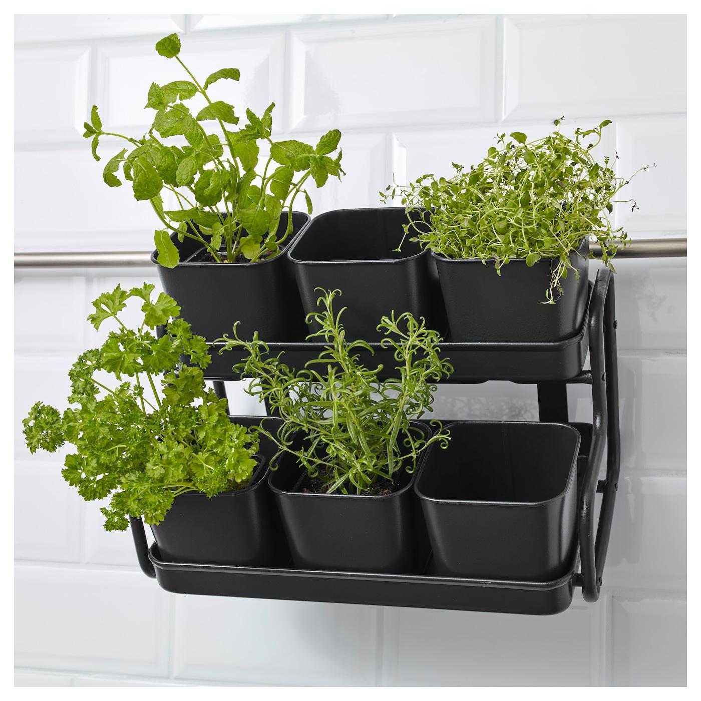 socker plant pot with holder in outdoor grey 10 5 cm ikea. Black Bedroom Furniture Sets. Home Design Ideas