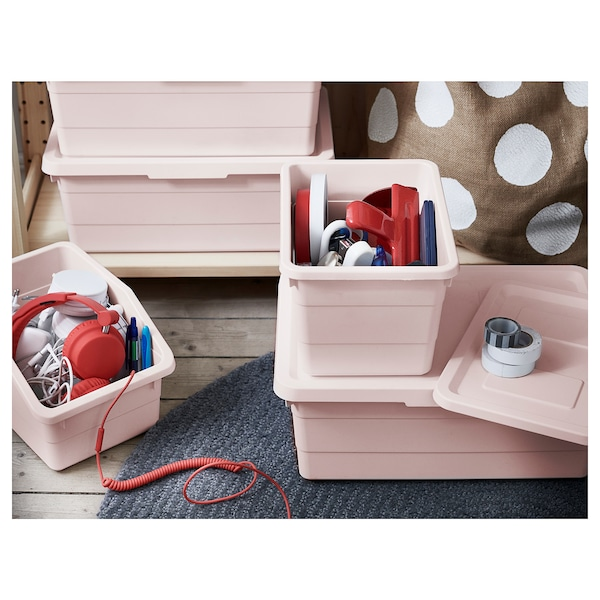 SOCKERBIT Box with lid, pink, 19x26x15 cm